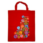 Tote bag in 100%  cotton which features a beautiful Wycinanki (Polish paper cut-outs) floral design.