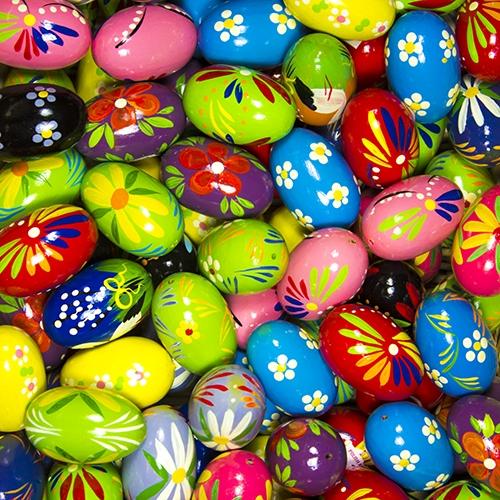 center wooden easter eggs pisanki pastel