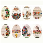 Set of 8 full color glossy Easter cards, featuring folk and pisanki pictures and themes.  The envelopes feature pictures and fancy graphics of both front and back.  Very elegant!  Text varies on each card.