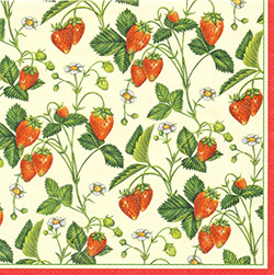 Wild Strawberries Dinner Napkins (package of 20).   Three ply napkins with water based paints used in the printing process.  The pattern appears on all 4 quarters of this napkin.
