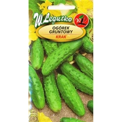 Cucumber Krak is a medium-early, very productive variety tolerant of downy mildew and cucumber mosaic virus. Cylindrical, dark green, delicate skinned fruits are very tasty. Warts are thick and quite large with white thorns.  For pickling and souring.