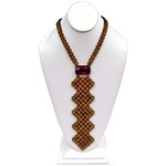 "Gorgeous woven cherry and honey amber necklace/necktie.  Tie length is 8"" (20cm).  All small beads are faceted."