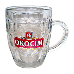 Okocim Brand Beer Mug one of Poland's popular beers.  Okocim Brewery, in Brzesko in southeastern Poland, is one of the oldest and most renowned breweries in the country. This is a 1/2 liter traditional pub style beer mug. Made in Krosno, Poland