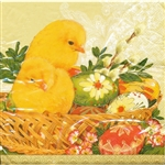 Easter Chicks and Pisanki Dinner Napkins (package of 20).   Three ply napkins with water based paints used in the printing process.  The pattern appears on both halves of this napkin.