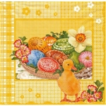 Easter Duckling and Pisanki Dinner Napkins (package of 20).   Three ply napkins with water based paints used in the printing process.  The pattern appears on both halves of this napkin.