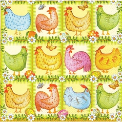 Chickens, Butterflies and Pisanki Dinner Napkins (package of 20).   Three ply napkins with water based paints used in the printing process.  The pattern appears on all 4 quarters of this napkin.