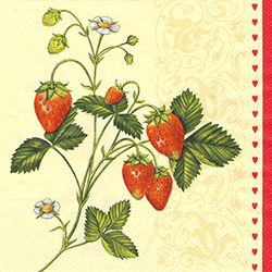 Wild Strawberry Sprig Dinner Napkins (package of 20).   Three ply napkins with water based paints used in the printing process.  The pattern repeats on both halves of this napkin, as seen in the last picture shown.