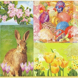 Spring Time with Pisanki Dinner Napkins (package of 20).   Three ply napkins with water based paints used in the printing process.  The pattern appears on all four sides of this napkin.
