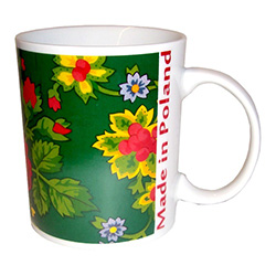 "This attractive ceramic mug features the design of material worn by Polish folk dancers with a ""Made In Poland"" logo.  A perfect folklore gift and especially for lovers of Polish folk dancing."