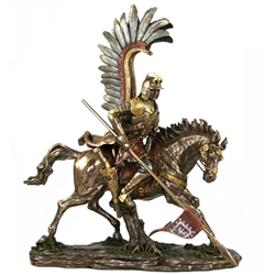 This spectacularly detailed statue of a Polish Winged Husar is made using a process known as cold cast bronze.  Wings and lance are removable for shipping.