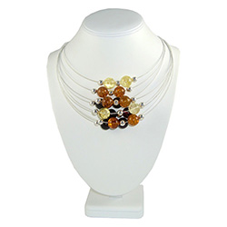 "16"" Multi Color Eight Strand Silver And Amber Necklace"