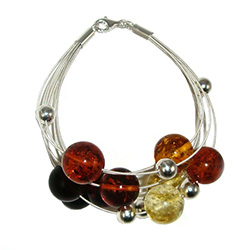 Multi Color Eight Strand Silver And Amber Bracelet