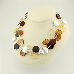 "18"" Multi Color Three Strand Silver And Amber Discs Necklace"