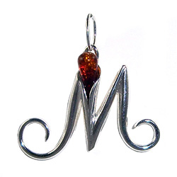 "Approximately 1"" tall - (2.5cm) size sterling silver and amber charm.  Classic Calla Lily shape."