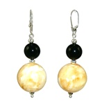 Amber and onyx balls with silver findings.
