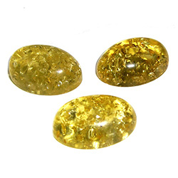 "Approx .5"" x .75"" x .25"" thick - 15mm x 20mm x 5mm thick.  These oval domed amber cabochons are quite sparkly.  Price is per piece."