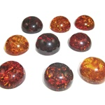 "Approx .625"" dia x .312"" thick - 15mm x 7mm thick.  These are round domed amber cabochons.  Price is per piece."