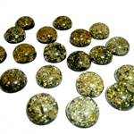 "Approx .5"" dia x .25"" thick - 12mm x 6mm thick.  These are round domed amber cabochons and the backs are painted black which makes the cabochon appear green.  Price is per piece."