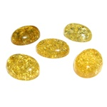 "Approx .5"" x 62"" x .25"" thick - 11mm x 15mm x 6mm thick.  These oval domed amber cabochons are quite sparkly.  Price is per piece."