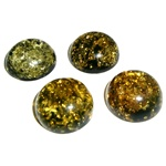 "Approx .5"" x .25: thick - 15mm x 6mm thick.  These round domed amber cabachons have backs painted black which produces their green color.  Price is per piece."