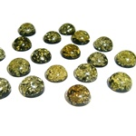 "Approx .375"" x .25: thick - 10mm x 6mm thick.  These round domed amber cabochons have backs painted black which produces their green color.  Price is per piece."
