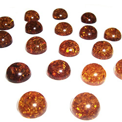 "Approx .375"" x .25: thick - 10mm x 6mm thick.  These are round domed amber cabochons.  Price is per piece."