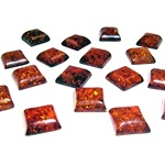 "Approx .5"" x .5"" x .25"" thick - 11mm x 11mm x 6mm thick.  These are square domed amber cabochons.  Price is per piece."