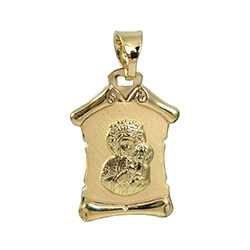 Beautiful Polish 14K gold medallion of Our Lady Of Czestochowa made in Poland.