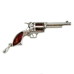 Silver And Amber Revolver Pendant