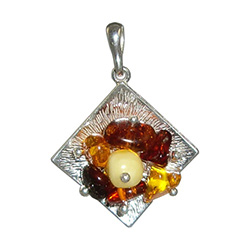 Silver And Amber Cluster Pendant