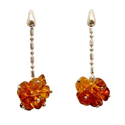 Stylish set of dangle earrings, consisting of a cluster of amber cubes attached to a Sterling Silver fashion chain.