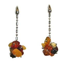 Stylish set of dangle earrings, consisting of a cluster of multi-color amber cubes attached to a Sterling Silver fashion chain.