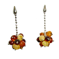 Stylish set of dangle earrings, consisting of a cluster of multi-color amber spheres attached to a Sterling Silver fashion chain.