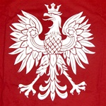 The symbol of Poland on a red background.