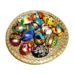 Deluxe wooden Easter egg from Poland with beautiful floral patterns and all include gold paint.  These are extra large eggs and all hand painted.  These eggs are solid and sturdy and will last for generations.  Assorted colors and patterns.
