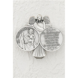 Carry St Christopher, patron saint of travelers while you travel in your vehicle.  The back has a spring clip that slides on to the windshield visor.