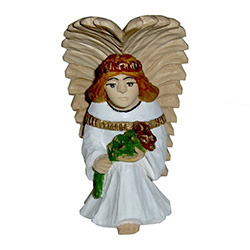Beautiful hand carved and painted angel by Mieczyslaw Gaja.  Mr Gaja is an accomplished carver who began his career in 1975.  He  is closely associated with the wood carvers school in the town of Lukow (Lukow Carver's Center).   Mr Gaja carves all of his