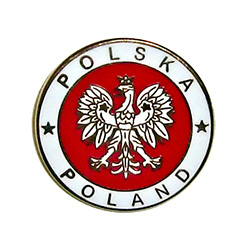 Very sharp looking lapel pin featuring the Polish crowned eagle, the colors of the Polish flag and the words Poland-Polska.