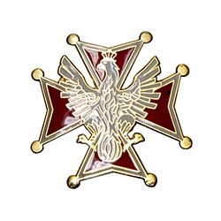 Ths very attractive lapel pin is a miniature replica of the famous medal and Poland's highest decoration.