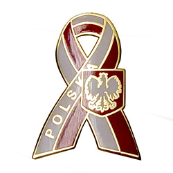 Ths very attractive lapel pin features the Polish crowned eagle on a Polska red and white ribbon.