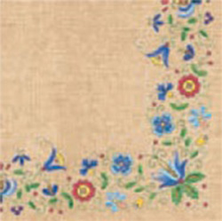 Polish Folk Art Dinner Napkins (package of 20) - 'Kaszub Sky'.  Three ply napkins with water based paints used in the printing process.  The pattern appears on all 4 quarters of this napkin making a board pattern.