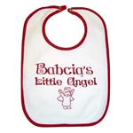 Great cotton bib with a rubberized back and metal snaps in Polish colors, read and white. Babcia's Little Angel ,Translation: Grandma's Little Angel. In some Polish families grandma was referred to as Busia. You can select either name below.