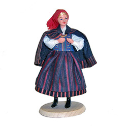 This colorful costume is from the region around the city of Kielce in southeastern part of Poland which was part of the greater Malopolska (Little Poland) region.  These dolls are  clothed in authentic regional folk costumes, as certified by the Polish Mi