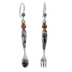 Now these are a real conversation piece.  Nicely detailed silver spoon and fork topped with an amber bead.