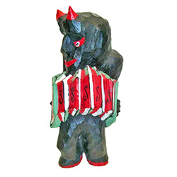 "Devils in Polish folklore are a common theme and often with comic elements.  This Polish ""diabel"" has a nice accordion in his favorite colors."