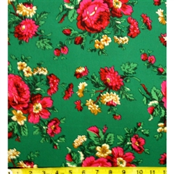 Traditional fabric for Polish costumes.   This material features large flowers. To make a typical skirt will require approximately 3 yards of material.