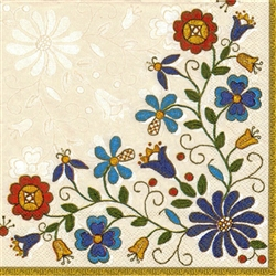 Polish Folk Art Dinner Napkins (package of 20) - 'Kaszub Bouquet'.  Three ply napkins with water based paints used in the printing process.