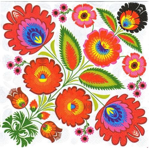 Polish Folk Art Dinner Napkins (package of 20) - 'Wycinanki Bouquet ...