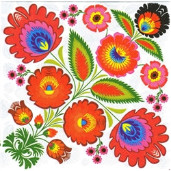 Polish Folk Art Dinner Napkins (package of 20) - 'Wycinanki Bouquet'.  Three ply napkins with water based paints used in the printing process.  The pattern appears on all 4 quarters of this napkin making a board pattern.