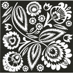 "Polish Folk Art Luncheon Napkins (package of 20) - 'Wycinanki Night And Day"".  Three ply napkins with water based paints used in the printing process.  When opened you display alternating black and white squares."